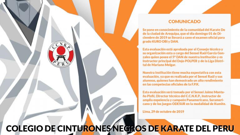 Comunicado - Examen Oficial para Grado KURO OBI y DAN